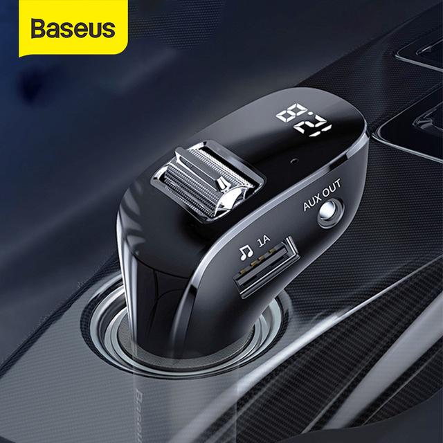 משדר בלוטוס מקצועי לרכב עם aux של חברת baseus