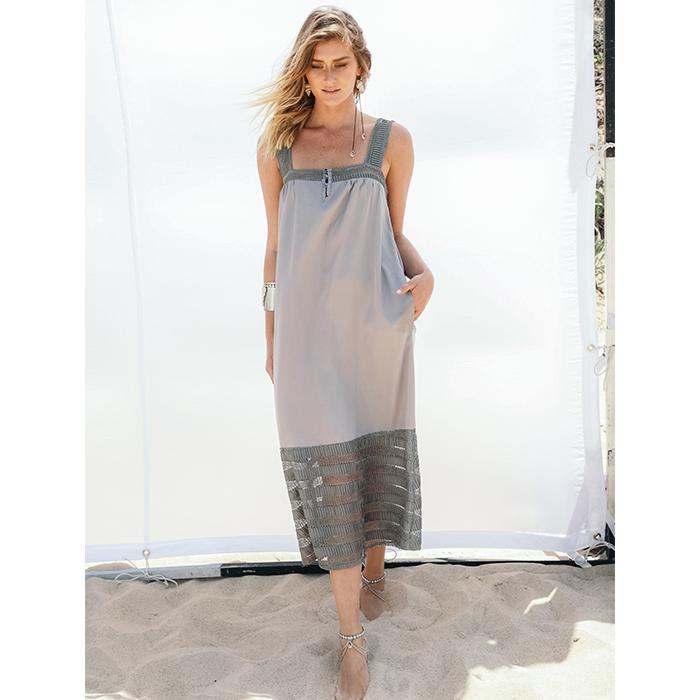שמלת בילי ירקרק/אפרפר