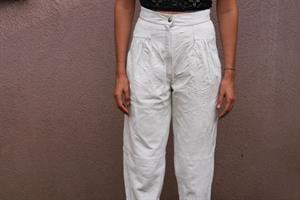 מכנסי עור לבנים מידה S