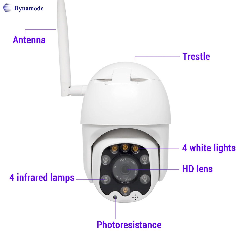 מצלמת IP אלחוטית חיצונית , חיבור מהיר, ראיית לילה,  איכות 1080P עם 3 מגה פיקסל Dynamode