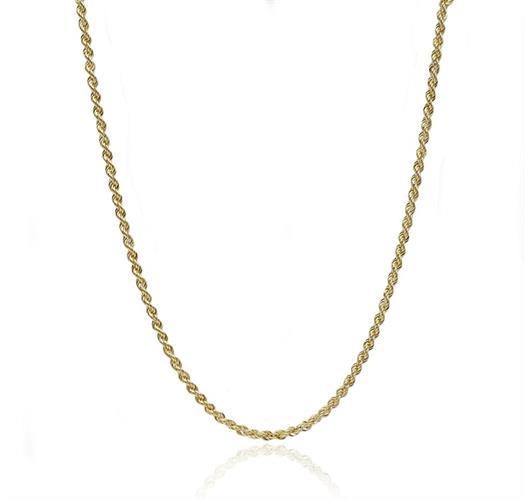 """שרשרת זהב חבל לגבר 55 ס""""מ צהוב"""