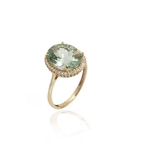 טבעת זהב אמטיסט ירוקה ויהלומים