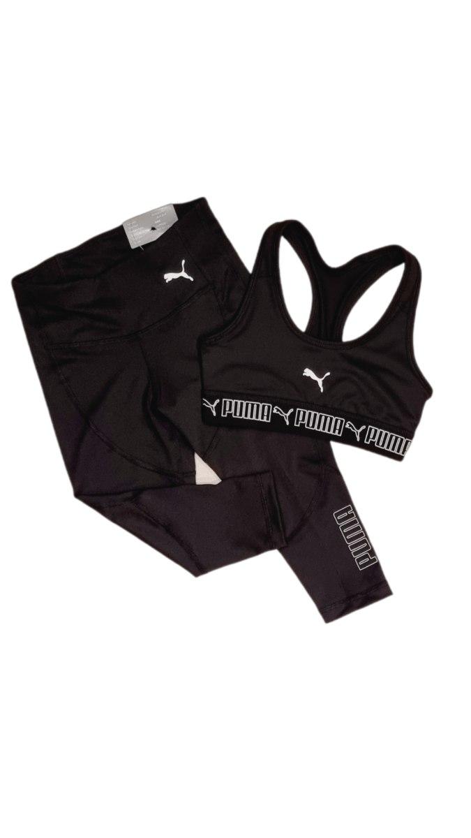 חליפת ספורט טופ וטייץ שחור לבן PUMA