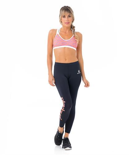 מכנסיי טייץ ספורט לנשים צבע שחור בהדפס PLAYLOUD- BOHO