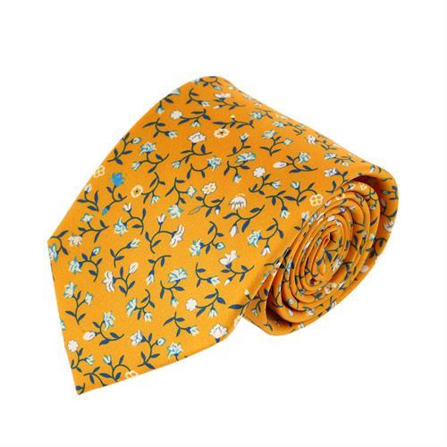 עניבה דגם עלי כותרת צהוב