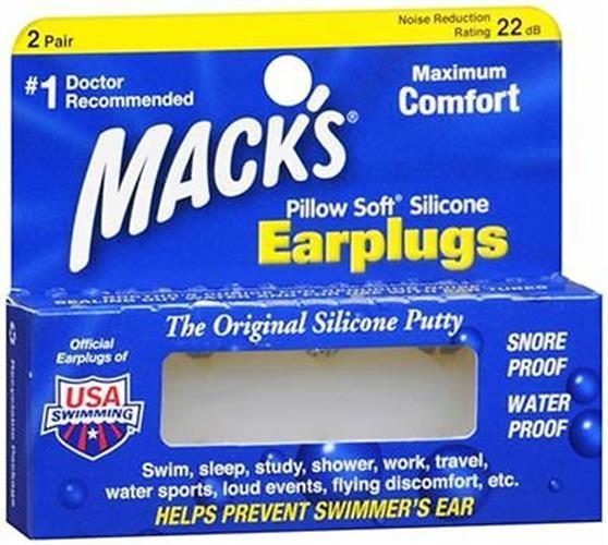 אטמי אוזניים סיליקון למבוגר  2 זוגות MACKS