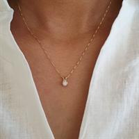 שרשרת יהלום 0.40 קראט | תליון יהלום בודד  בזהב 14 קאראט