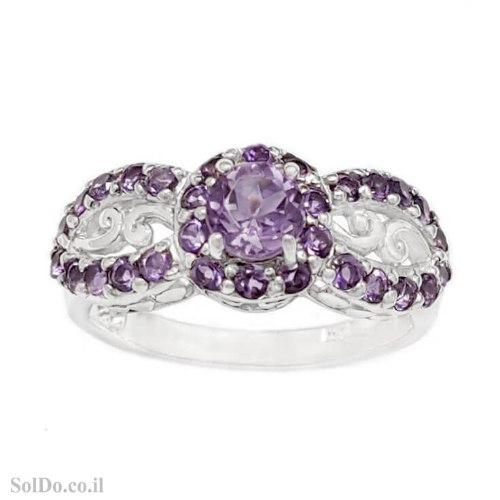 טבעת מכסף משובצת אבני אמטיסט RG6293 | תכשיטי כסף 925 | טבעות כסף