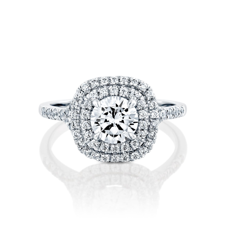 טבעת אירוסין זהב לבן 14 קראט משובצת יהלומים SAPHIRE