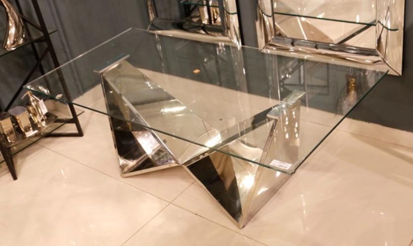 שולחן סלון נירוסטה כסף זכוכית שקופה