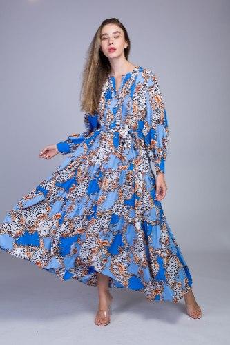 שמלת GOLD בד מודפס