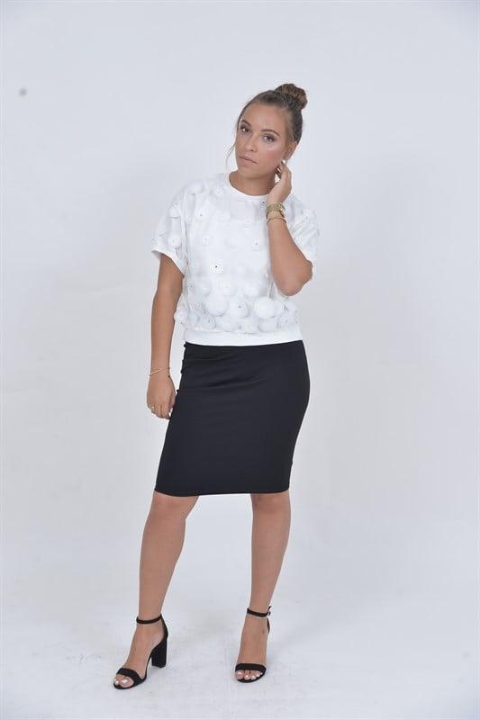 חולצת שיק פנינים לבנה