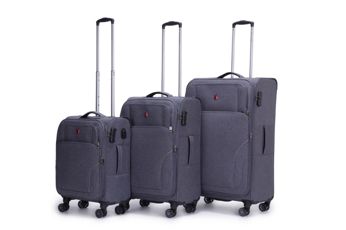 סט 3 מזוודות סופר איכותיות SWISS Xplorer  - צבע אפור