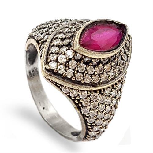 טבעת מכסף משובצת רובי קוורץ ואבני זרקון לבנות  RG5686 | תכשיטי כסף 925 | טבעות כסף