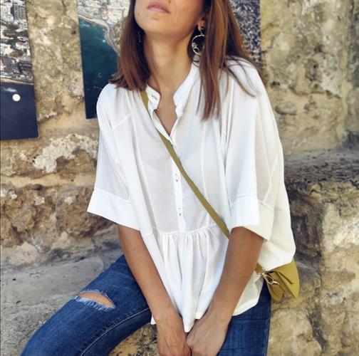 חולצת אדל פריזאית - לבנה