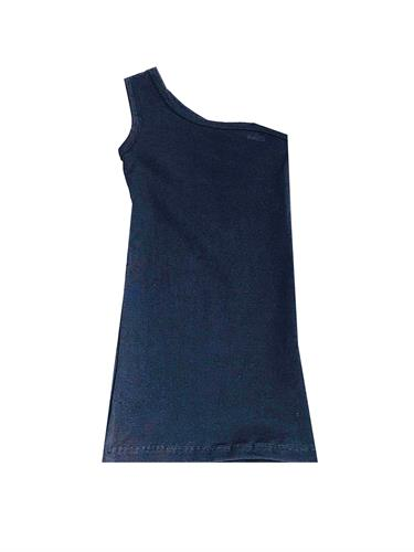 שמלה כתף אחת שחורה 2-16