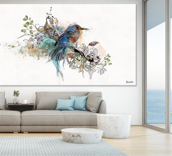 ציפור כחולה על קנבס