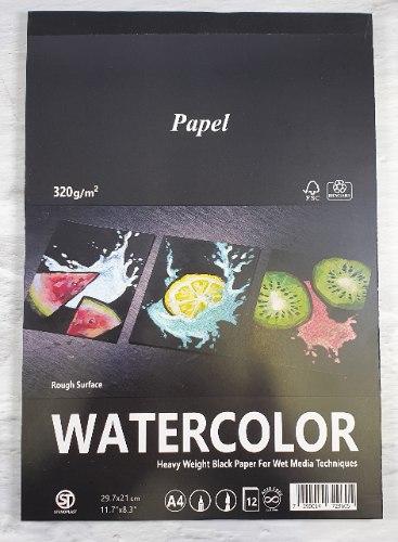 בלוק לצבעי מים - A4  שחור 320 גר'