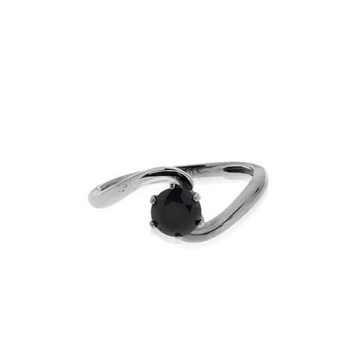 טבעת יהלום שחור 1.00 קראט | טבעת טוויסט זהב 14 קרט