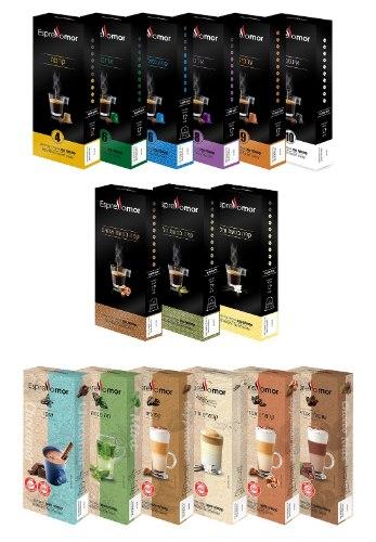 מיקס 120 קפסולות לבחירה - משקאות חמים \ קפה בטעמים \ אספרסו - למכונת Nespresso