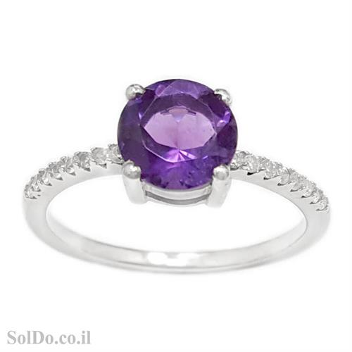 טבעת מכסף משובצת אבן אמטיסט וזרקונים RG1665 | תכשיטי כסף 925 | טבעות כסף