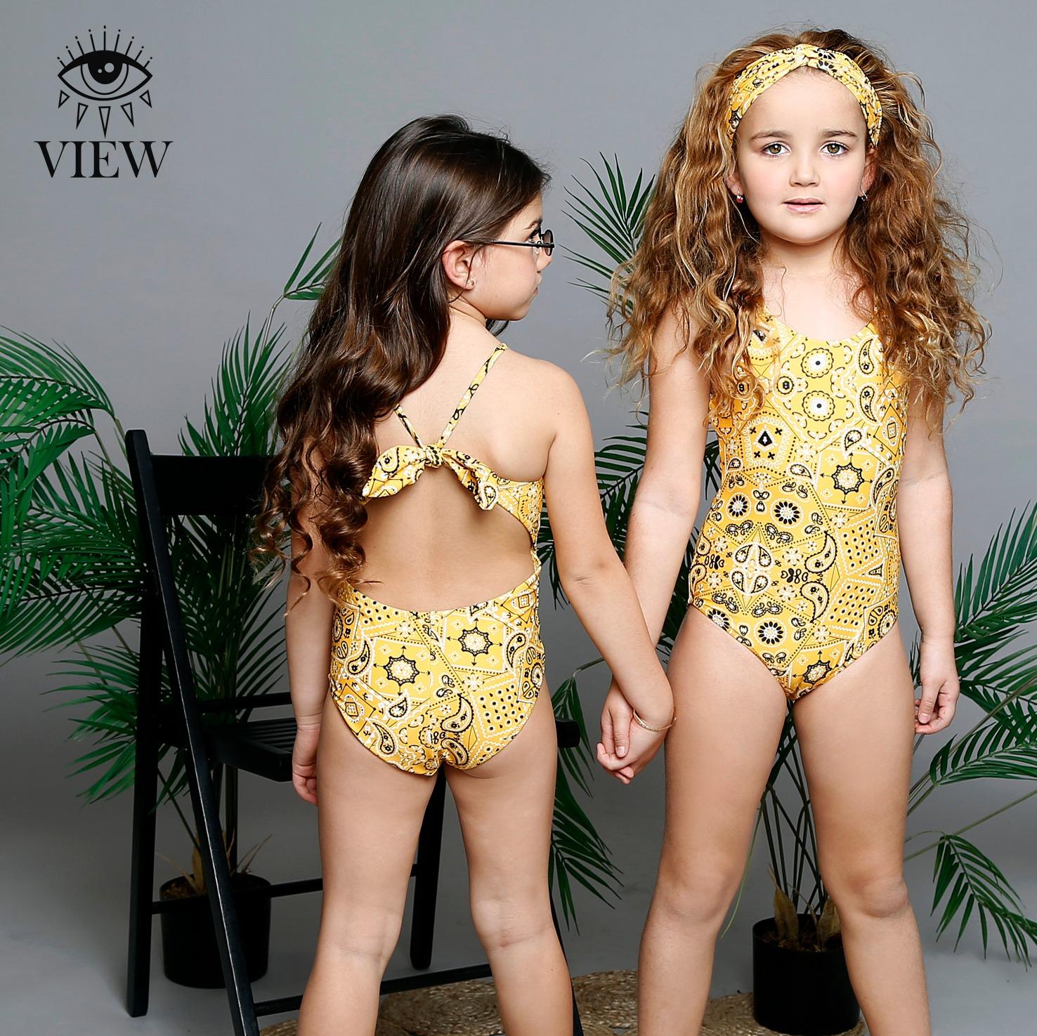 בגד ים צהוב בנדנה VIEW