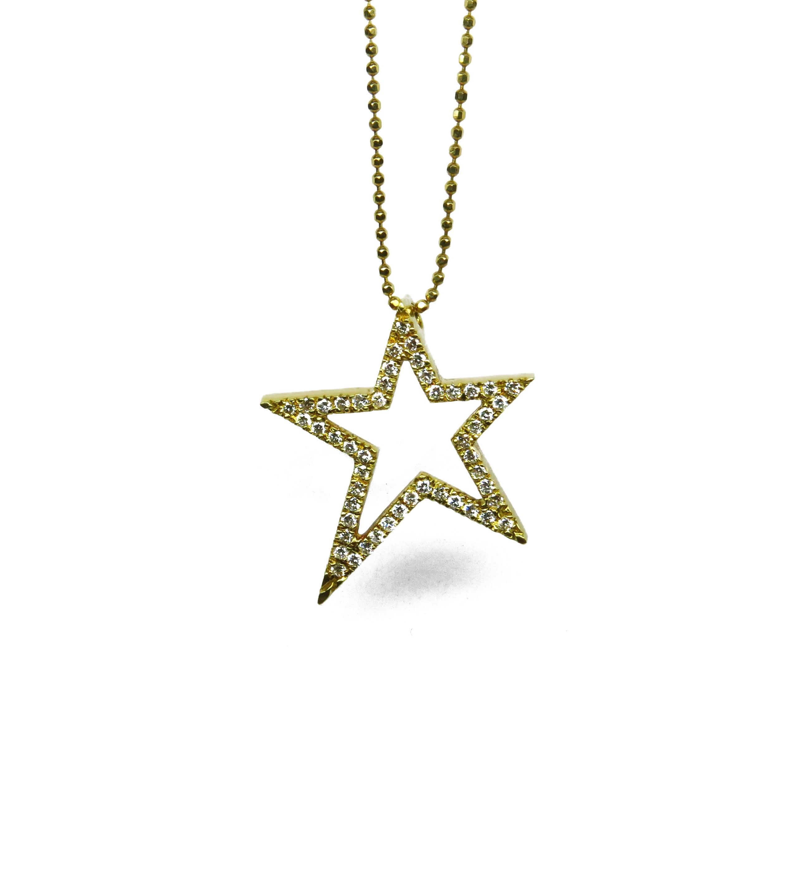 שרשרת כוכב מזהב צהוב 18K משובץ יהלומים 0.35 קראט