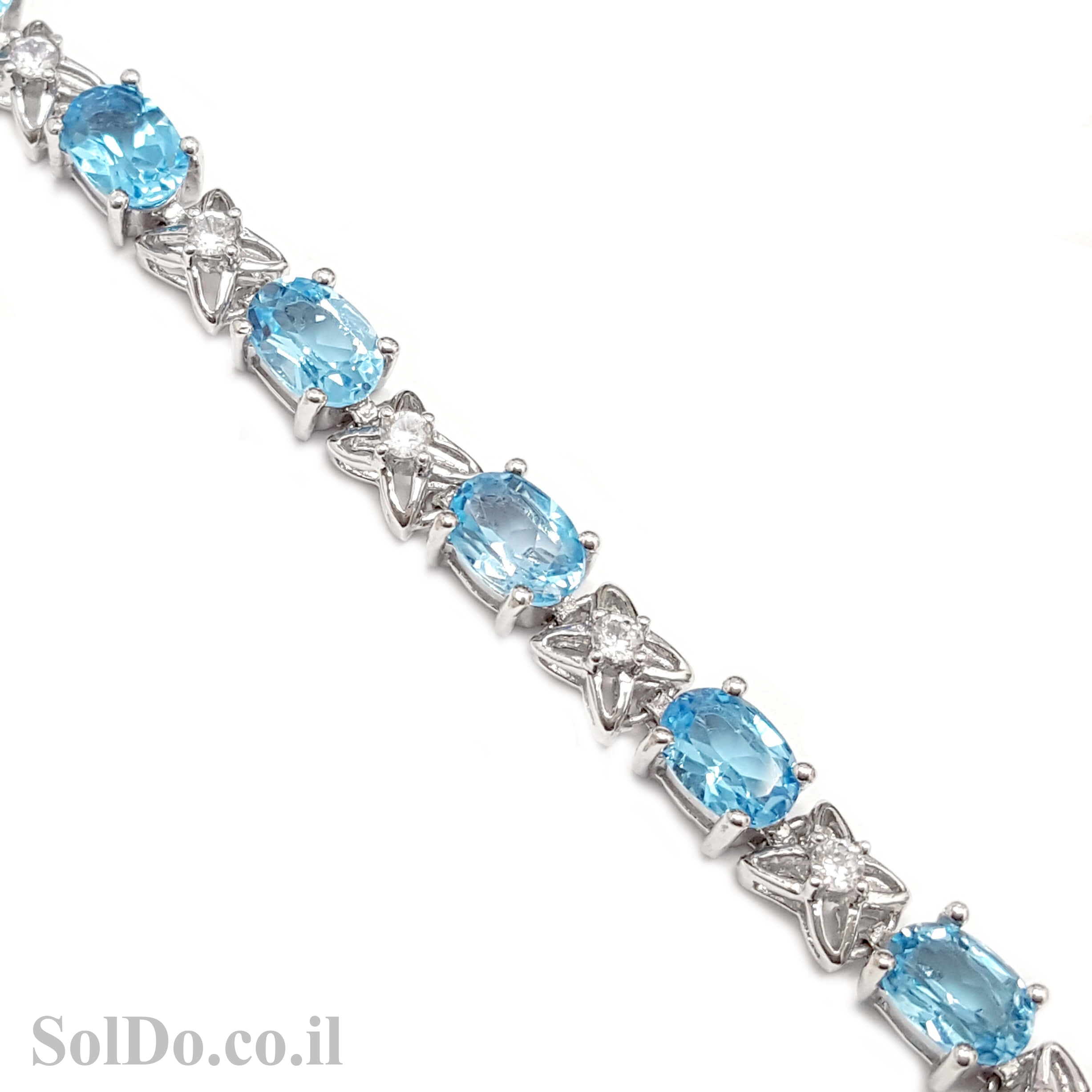 צמיד כסף משובץ אבני טופז כחולות  Z3056