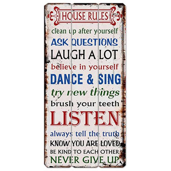 שלט עץ   HOUSE RULES