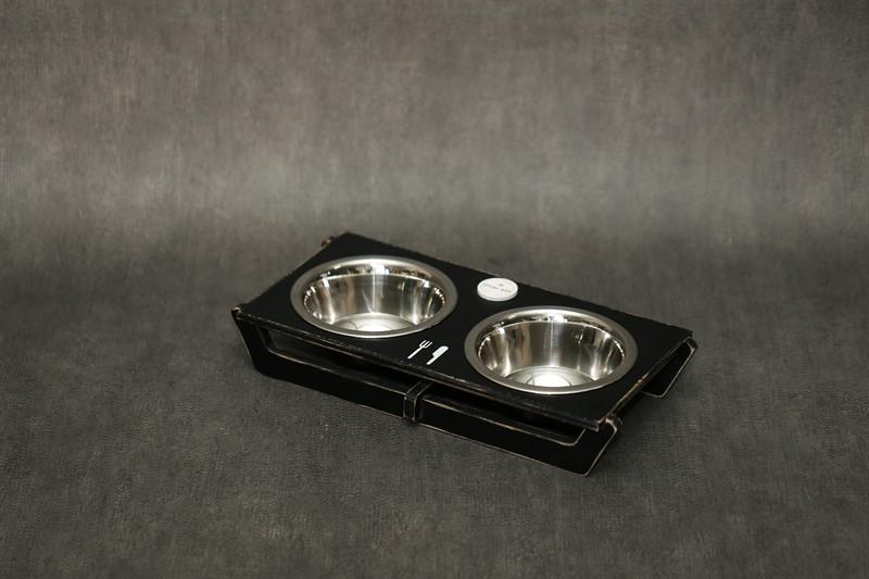 כלי אוכל ושתיה לכלב - שוטים M שחור ווש