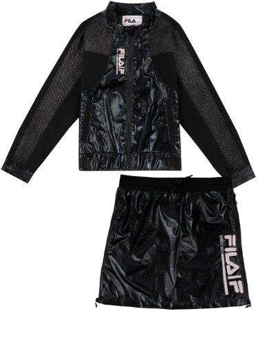 חליפת ג׳קט וחצאית ניילון שחורה FILA - מידות 6-16