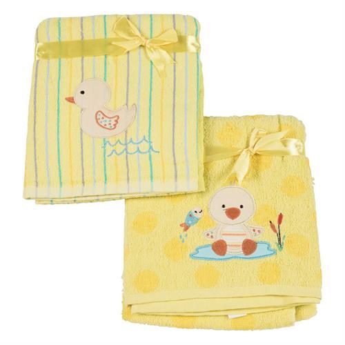זוג מגבות לתינוק - צהוב