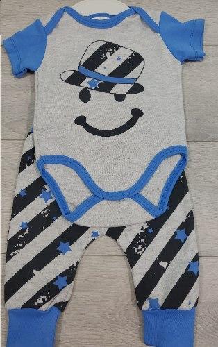 חליפת בגד גוף פרצוף וכובע אפור מלאנג' וכחול