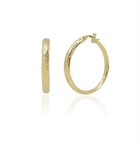 """עגילי חישוק זהב מעוצבים עם חריטת לייזר 3 ס""""מ"""