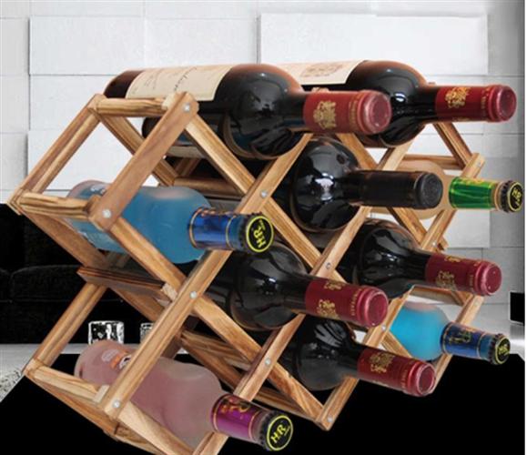 מעמד עץ מודולרי לבקבוקי יין