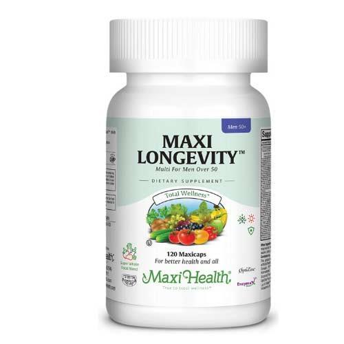 -- מולטי ויטמין ומינרלים לגברים Maxi Longevity -- מכיל 60 כמוסות, Maxi Health
