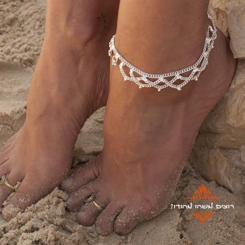צמיד רגל הודי כסוף ציור טיפה