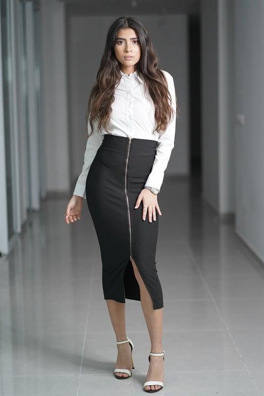 חצאית גבוהה רוכסן
