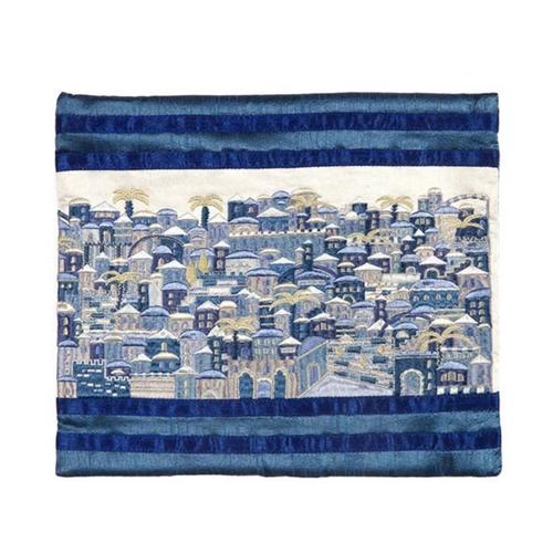 כיסוי לטלית רקמה מלאה ירושלים כחול