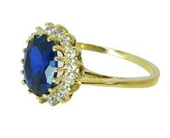טבעת זהב 14K משובצת אבן חן ספיר כחולה זרקונים