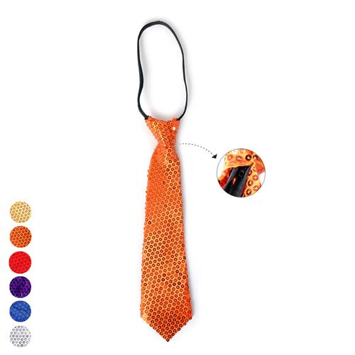 עניבה בד פאייטים 35סמ עם רוכסן