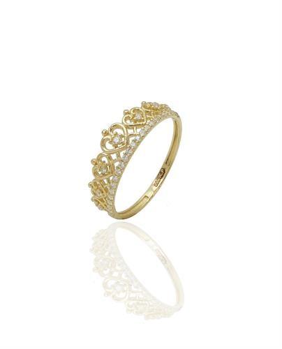 טבעת עדינה כתר משובצת זרקונים בזהב לאשה