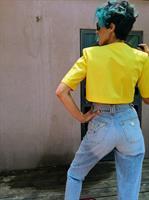עליונית צהובה  קצרה שנות ה-80 כותנה מידה M