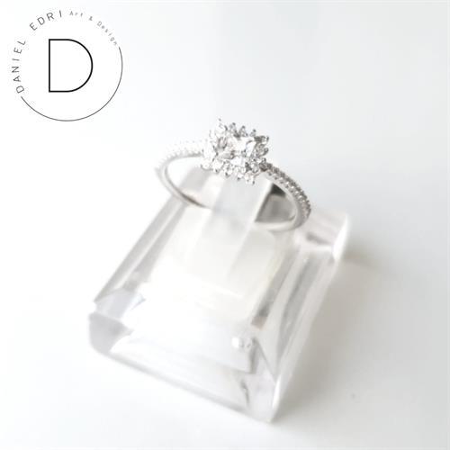 טבעת זרקונים ריבוע- כסף 925
