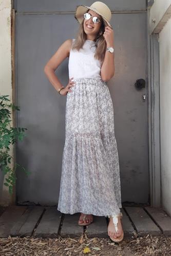 חצאית שיפון דריה לבן