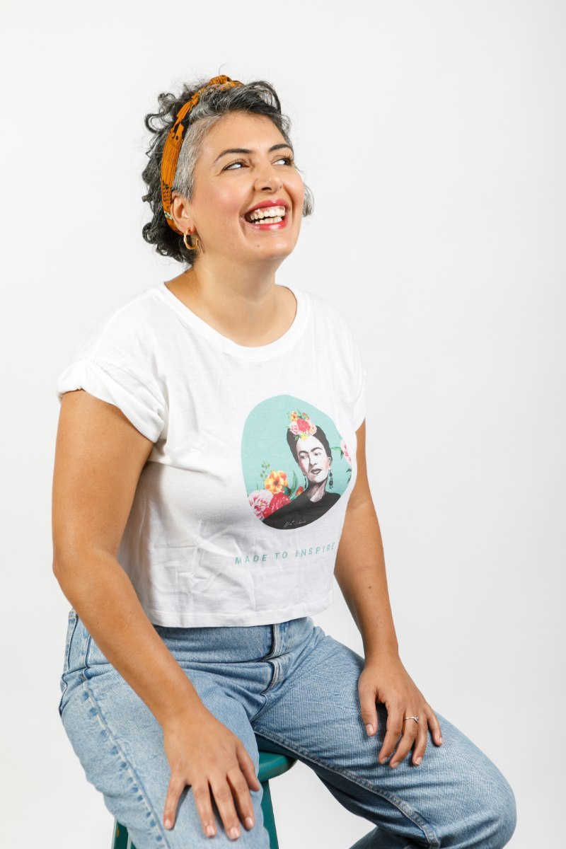 חולצת טישירט קרופ - פרידה קאלו טורקיז