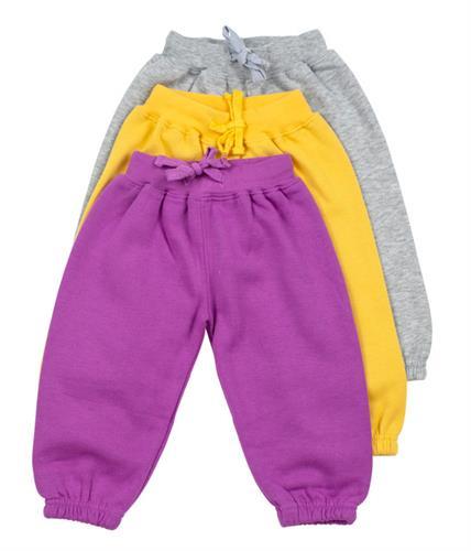 שלישיית מכנסי פוטר גומי אפור-צהוב-סגול