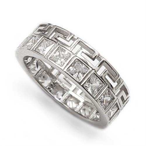 טבעת כסף רחבה משובצת אבני זרקון מרובעות RG5773 | תכשיטי כסף | טבעות כסף