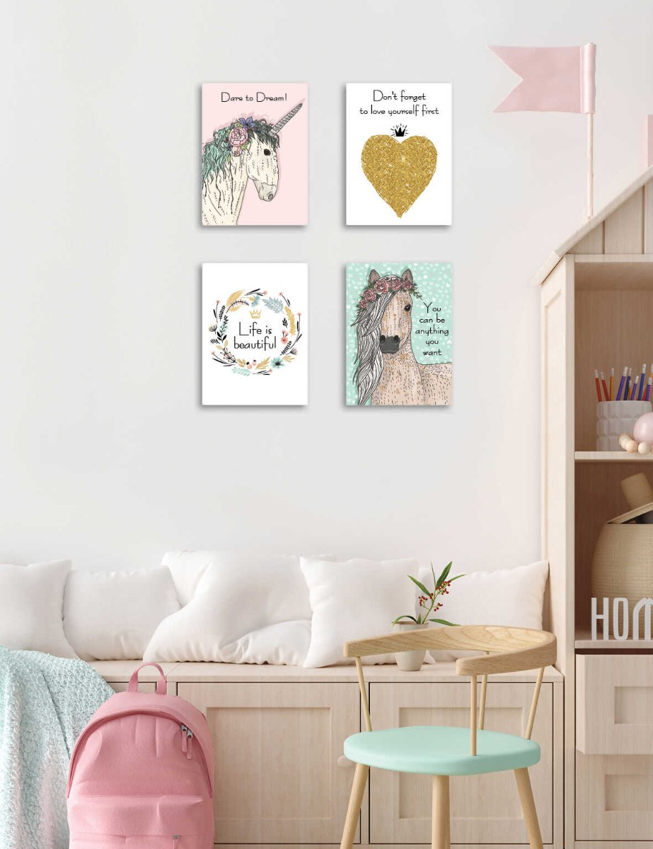 סט של 4 תמונות השראה לחדר ילדה/ נערה דגם031