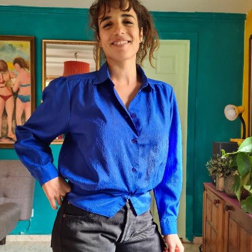 חולצה אייטיזית בכחול של פעם M/L